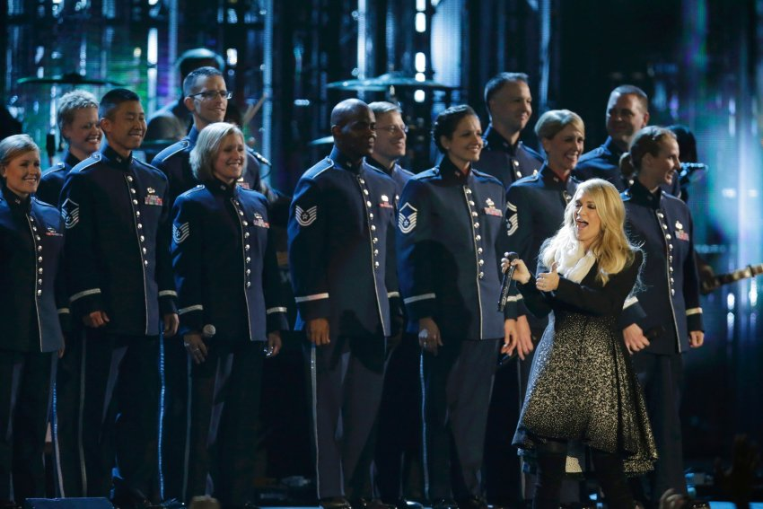 Singer Carrie Underwood and The Singing Sergeants of the U.S. Air Force perform during The Concert for Valor on the National Mall on Veterans' Day in Washington