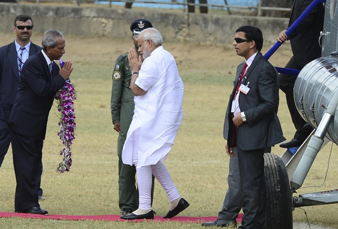 India's Prime Minister Narendra Modi is welcomed as he arrives for a visit in Jaffna