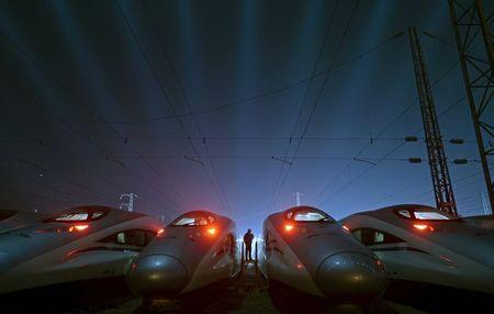 File photo of China Railway High-speed Harmony bullet trains at a high-speed train maintenance base in Wuhan, Hubei province, China